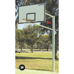 Basketball B/board, 1 Upright & Socket, Fxd, Max C/lever-2400mm