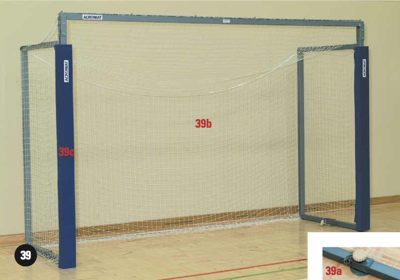 Indoor Goal Holding Down Plates Filled To Bottom Rail
